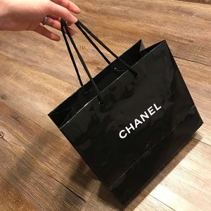Chanel paper glossy black shopping bag authentic